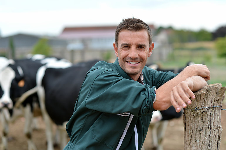 Picture of a dairy farmer tending to his herd